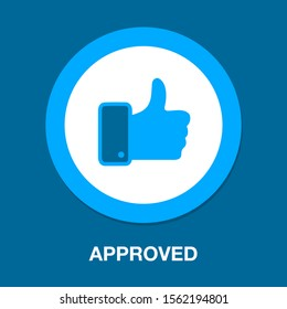 approved sign icon - vector like, check mark sign - approval symbol, social media illustration, yes