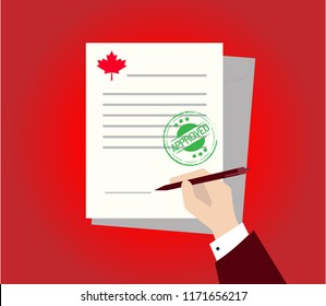 Approved stamp Canada round grunge on document or agreement, approving sign mark success in business deal.  Property application form icon, rental house contract, terms and conditions, home loan