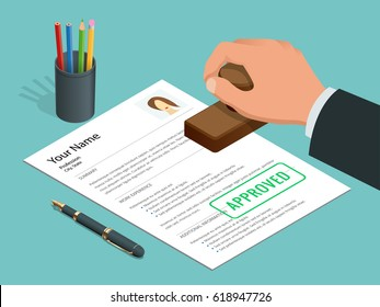 Approved stamp in hand businessman and Approved document with stamp, pen. Isometric flat Vector illustration