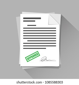Approved stamp sign with signature on document paper, flat icon design, vector illustration