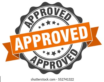 approved. stamp. sticker. seal. round grunge vintage ribbon approved sign