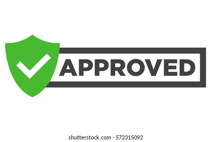 Approved stamp vector. Flat style design button, badge isolated on white background.