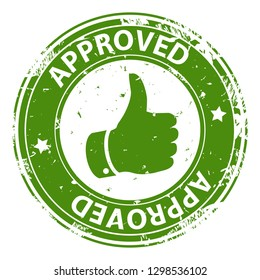 Approved text round rubber stamp icon with thumb up symbol isolated on white background. Symbol of approval. Vector illustration