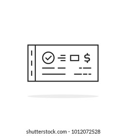 approved thin line bank check book. linear style trend modern ecommerce logotype graphic art design on white background. concept of dollar salary from employer or customer paying bill and compensation
