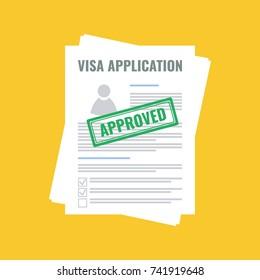 approved visa application, flat design