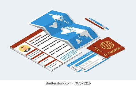 Approved visa form, passports, tickets, map, pen and pencil. Travel, immigration concept. Isometric vector illustration