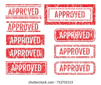 Approved Word Rubber Stamps Grunge Style With Dust Scratches Set