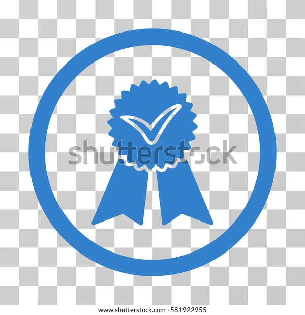 Approvement Seal vector pictograph. Illustration style is a flat iconic cobalt symbol on a transparent background.