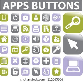 apps buttons icons set, vector