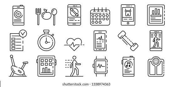 Apps for fitness icons set. Outline set of apps for fitness vector icons for web design isolated on white background