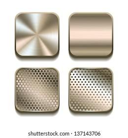 Apps metal icon set. Vector illustration