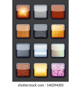 Apps Textured Button Icons. Vector EPS10