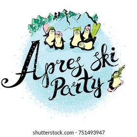Apres-ski party with funny penguins