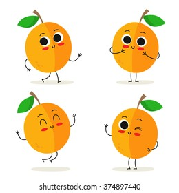 Apricot. Cute fruit vector character set isolated on white
