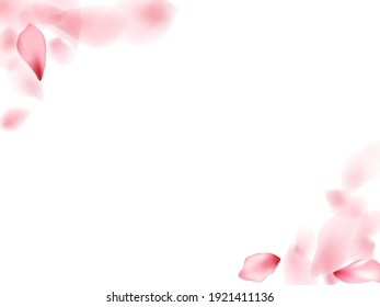 Apricot flower flying petals isolated on white. Modern floral background. Japanese sakura petals seasonal confetti, blossom elements flying. Falling cherry blossom flower parts vector.