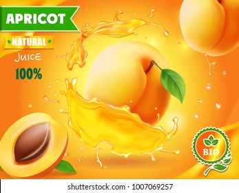 Apricot fruit in juice splash advertising poster