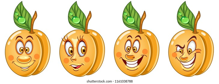 Apricot. Healthy Food concept. Emoji Emoticon collection. Cartoon characters for kids coloring book, colouring pages, t-shirt print, icon, logo, label, patch, sticker.