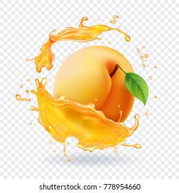 Apricot in juice splash. Realistic fruit illustration