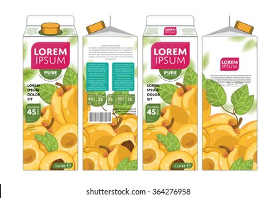 Apricot juice template packaging design vector illustration. Layout of apricot juice pack isolated on white background.