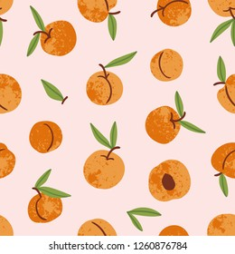 Apricot seamless pattern. Hand drawn fruit and sliced pieces. Summer tropical endless background. Vector fruit design for label, fabric, packaging.