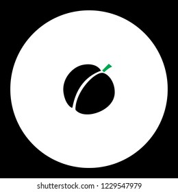 apricot simple black and green vector icon eps10
