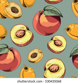 Apricots and peaches seamless pattern. Vector illustration on green background