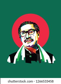 April 01, 1972: A vector illustration of a portrait of Bangladesh's First Prime Minister, Sheikh Mujibur Rahman. He is the founding father of the People's Republic of Bangladesh.