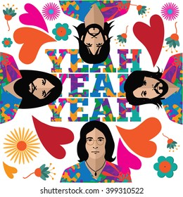 APRIL 1, 2016: Illustrative editorial pop art graffiti style drawing of The Beatles in their hippie stage with yeah yeah yeah. George Harrison, Ringo Starr, John Lennon and Paul McCartney. EPS 10