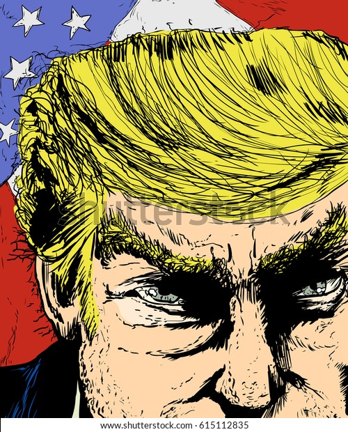 April 1, 2017. Close up sketch on face of Donald Trump with colorful American flag