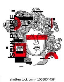 April 1, 2018: vector Illustration of Medusa by Bernini. Modern sculpture / Glitch / Geometry.