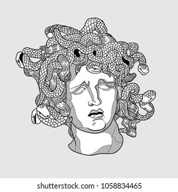 April 1, 2018: vector Illustration of Medusa by Bernini. Classical Sculpture.