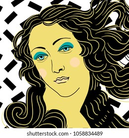 April 1, 2018: vector Illustration of The Birth of Venus by Sandro Botticelli in pop art style.