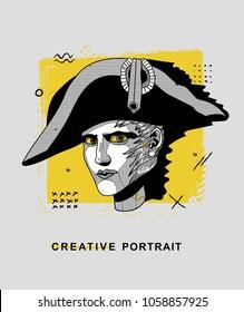 April 1, 2018: vector Illustration of Napoleon Bonaparte. Creative modern classical portrait.