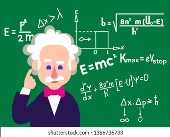 April 1, 2019. Portrait of Albert Einstein made in cartoon style.  Hand drawn vector illustration. Editorial use only - Vector