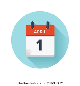 April 1. Vector flat daily calendar icon. Date and time, day, month 2018. Holiday. Season.