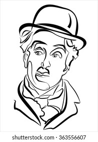 April 10, 2015: A linear illustration of a portrait of actor Charlie Chaplin on a white background.