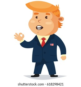 """April 10, 2017. Donald Trump president of america showing thumbs up sign """"OK"""" Vector cartoon character."""
