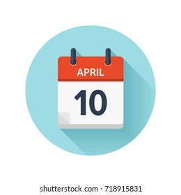 April 10. Vector flat daily calendar icon. Date and time, day, month 2018. Holiday. Season.