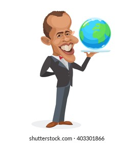 April 11, 2016: vector illustration of a cartoon portrait of the president of the United States Barack Obama holds a tray globe