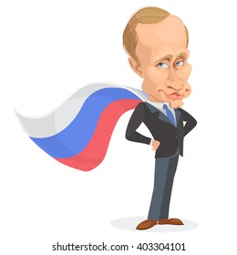 April 11, 2016: vector illustration of a cartoon portrait of Russian President Vladimir Putin in a superhero cape of the Russian flag