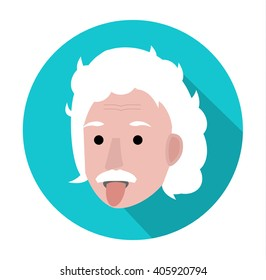 APRIL 14, 2016:  Albert Einstein face with tongue out. Cartoon portrait isolated, vector editorial illustration.  Portrait of Einstein, physicist, chemist and mathematician on blue  background.