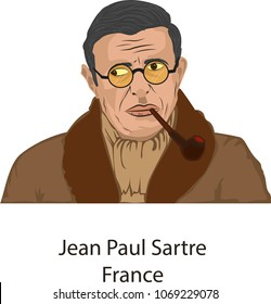 April 15, 2018, Illustration vector isolated of Jean Paul Sartre, France.