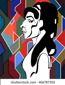 April 17, 2016: Vector portrait of singer Amy Winehouse in profile on an abstract background.