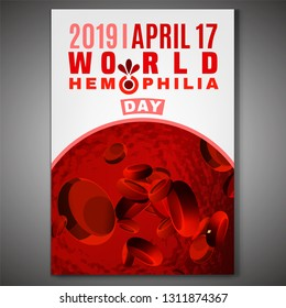 April 17 - World hemophlia day. Vertical poster, print, brochure or leaflet creative design. Editable vector illustration in red, pink and white color. Medical, healthcare and educational concept