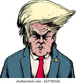 April 18, 2017. Caricature of angry Donald Trump with Bouffant hairdo over white background