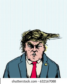 April 18, 2017. Caricature of Donald Trump with clenched teeth and hairdo blowing sideways