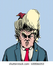April 18, 2017. Caricature of screaming Donald Trump with bird nesting in his hair, vector illustration.