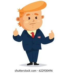 April 18, 2017. Donald Trump President of America shows thumbs up, which are a symbol that everything is good. Vector cartoon character.