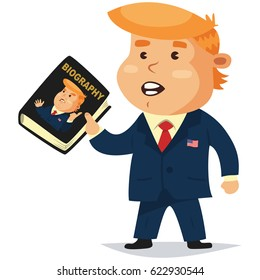 April 18, 2017. Donald Trump President of America holds a book in his hands with his biography. Vector cartoon character.