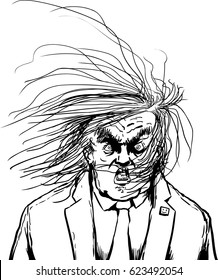April 18, 2017. Outlined cartoon of a furious Donald Trump with hair blowing in his face